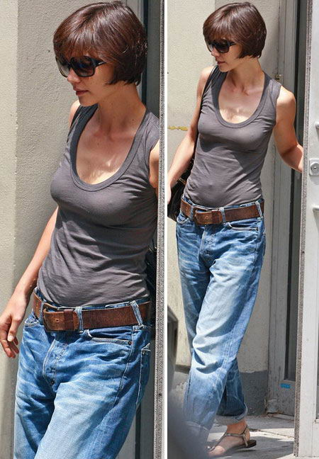 Katie-holmes-boyfriend-jeans. The hair-cut, the boyfriend jeans, Suri...what ...